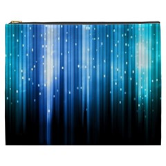 Blue Abstract Vectical Lines Cosmetic Bag (xxxl)