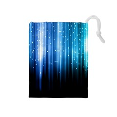 Blue Abstract Vectical Lines Drawstring Pouches (medium)  by BangZart