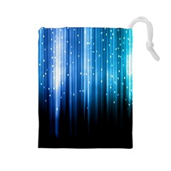 Blue Abstract Vectical Lines Drawstring Pouches (large)  by BangZart