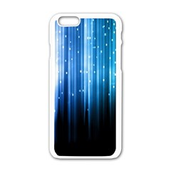 Blue Abstract Vectical Lines Apple Iphone 6/6s White Enamel Case