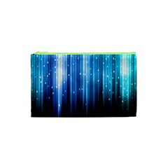 Blue Abstract Vectical Lines Cosmetic Bag (xs)