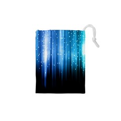 Blue Abstract Vectical Lines Drawstring Pouches (xs)