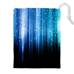 Blue Abstract Vectical Lines Drawstring Pouches (xxl) by BangZart