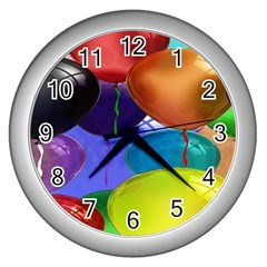 Colorful Balloons Render Wall Clocks (silver)  by BangZart