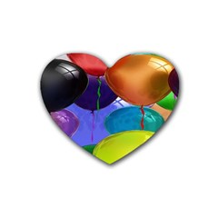 Colorful Balloons Render Rubber Coaster (heart)  by BangZart