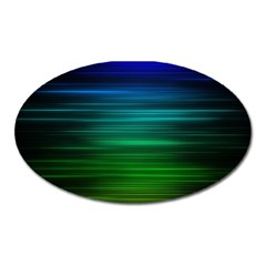Blue And Green Lines Oval Magnet by BangZart