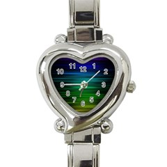 Blue And Green Lines Heart Italian Charm Watch by BangZart