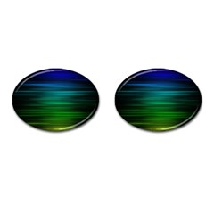Blue And Green Lines Cufflinks (oval) by BangZart