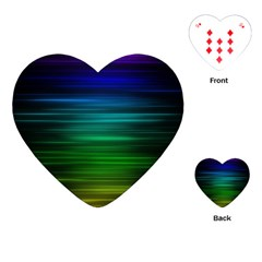 Blue And Green Lines Playing Cards (heart)  by BangZart