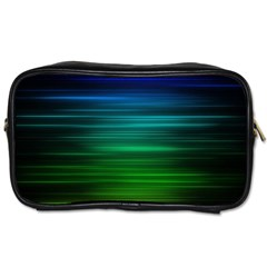 Blue And Green Lines Toiletries Bags 2 Side by BangZart