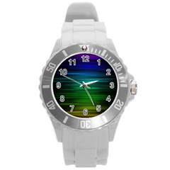 Blue And Green Lines Round Plastic Sport Watch (l) by BangZart
