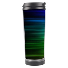 Blue And Green Lines Travel Tumbler by BangZart