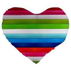 Colorful Plasticine Large 19  Premium Flano Heart Shape Cushions
