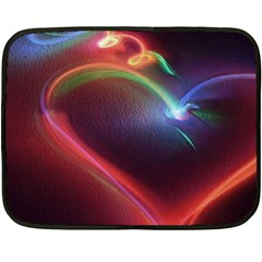 Neon Heart Fleece Blanket (mini) by BangZart