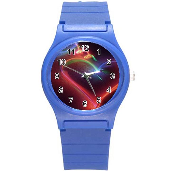 Neon Heart Round Plastic Sport Watch (S)