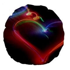 Neon Heart Large 18  Premium Flano Round Cushions by BangZart