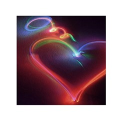 Neon Heart Small Satin Scarf (Square) by BangZart