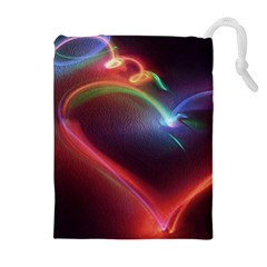 Neon Heart Drawstring Pouches (extra Large)