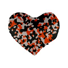 Camouflage Texture Patterns Standard 16  Premium Flano Heart Shape Cushions by BangZart