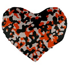 Camouflage Texture Patterns Large 19  Premium Flano Heart Shape Cushions