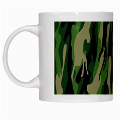 Green Military Vector Pattern Texture White Mugs by BangZart