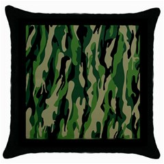 Green Military Vector Pattern Texture Throw Pillow Case (black) by BangZart