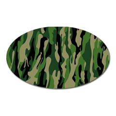 Green Military Vector Pattern Texture Oval Magnet by BangZart