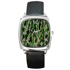 Green Military Vector Pattern Texture Square Metal Watch