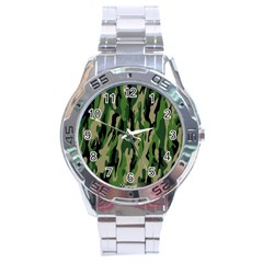 Green Military Vector Pattern Texture Stainless Steel Analogue Watch by BangZart