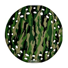 Green Military Vector Pattern Texture Round Filigree Ornament (two Sides) by BangZart