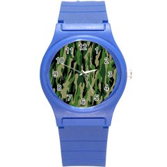 Green Military Vector Pattern Texture Round Plastic Sport Watch (s) by BangZart