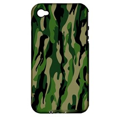 Green Military Vector Pattern Texture Apple Iphone 4/4s Hardshell Case (pc+silicone)