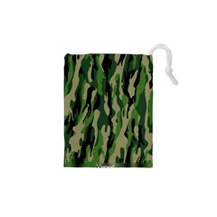 Green Military Vector Pattern Texture Drawstring Pouches (xs)
