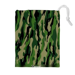 Green Military Vector Pattern Texture Drawstring Pouches (extra Large) by BangZart