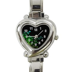 Abstract Colorful Plants Heart Italian Charm Watch