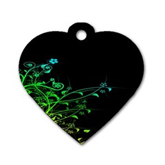 Abstract Colorful Plants Dog Tag Heart (two Sides)