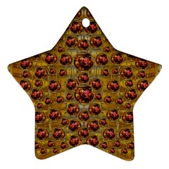 Angels In Gold And Flowers Of Paradise Rocks Ornament (star) by pepitasart