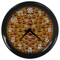Angels In Gold And Flowers Of Paradise Rocks Wall Clocks (black) by pepitasart