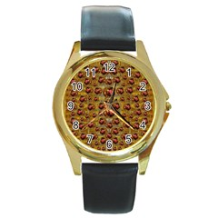 Angels In Gold And Flowers Of Paradise Rocks Round Gold Metal Watch by pepitasart
