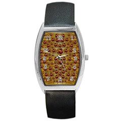 Angels In Gold And Flowers Of Paradise Rocks Barrel Style Metal Watch by pepitasart