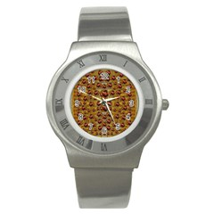 Angels In Gold And Flowers Of Paradise Rocks Stainless Steel Watch by pepitasart