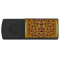Angels In Gold And Flowers Of Paradise Rocks Usb Flash Drive Rectangular (4 Gb) by pepitasart