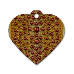 Angels In Gold And Flowers Of Paradise Rocks Dog Tag Heart (one Side) by pepitasart