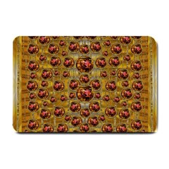 Angels In Gold And Flowers Of Paradise Rocks Small Doormat  by pepitasart