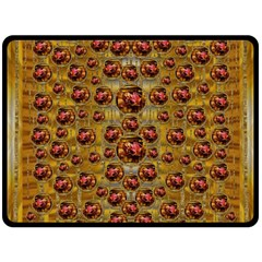 Angels In Gold And Flowers Of Paradise Rocks Fleece Blanket (large)  by pepitasart