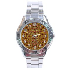 Angels In Gold And Flowers Of Paradise Rocks Stainless Steel Analogue Watch by pepitasart