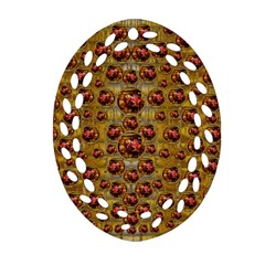 Angels In Gold And Flowers Of Paradise Rocks Oval Filigree Ornament (two Sides) by pepitasart