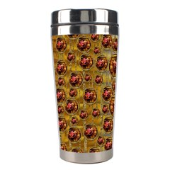 Angels In Gold And Flowers Of Paradise Rocks Stainless Steel Travel Tumblers by pepitasart