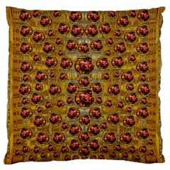 Angels In Gold And Flowers Of Paradise Rocks Large Flano Cushion Case (one Side) by pepitasart