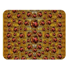 Angels In Gold And Flowers Of Paradise Rocks Double Sided Flano Blanket (large)  by pepitasart